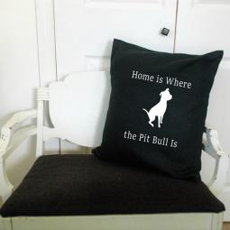 Home is Where the Pit Bull is Canvas Pillow Cover Black