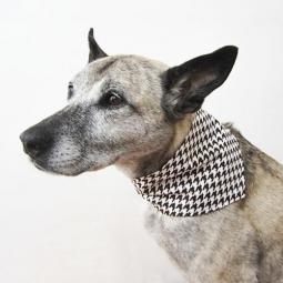 Brown and White Houndstooth Handmade Dog Bandana