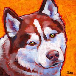 Husky Brown and White Print