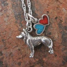 Husky Large Double Heart Sterling Silver Necklace