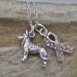 Husky Breast Cancer Awareness Ribbon Sterling Silver Necklace