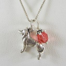 Husky Large Charm Sterling Silver Necklace