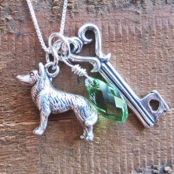 Husky Large Key To My Heart Sterling Silver Necklace