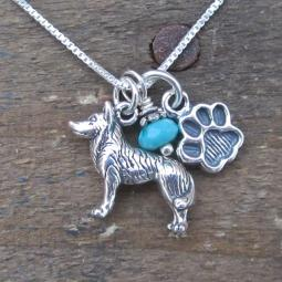 Husky Paw Print Sterling Silver Necklace (large)
