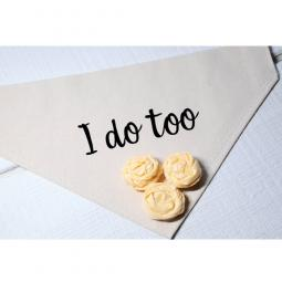 I Do Too Canvas Dog Bandana with Yellow Fabric Flowers