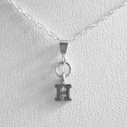Initial 'H' Mini Pendant Charm and Necklace