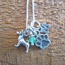 Akita Mini Paw Print Sterling Silver Necklace