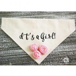 It's a Girl Dog Bandana with Pink Fabric Flowers