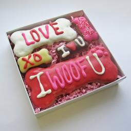 I Woof U Love Valentine Dog Bone Assortment