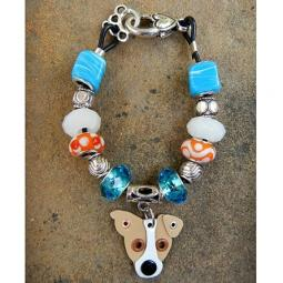 "Jack Russell Terrier 7.5"" Silver & Glass Bracelet (one of a kind"