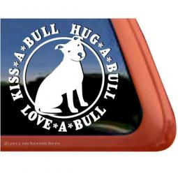 Kiss-a-Bull Hug-a-Bull Love-a-Bull Sitting Large Decal