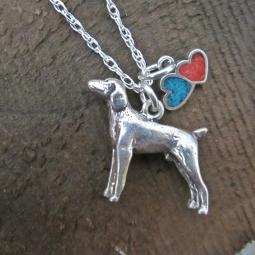 Weimaraner Large Double Heart Sterling Silver Necklace