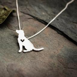 Labrador Retriever Sitting Itty Bitty Sterling Silver Necklace