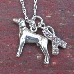Weimaraner Breast Cancer Awareness Ribbon Ster Silver Necklace