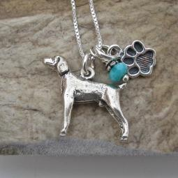 Weimaraner Paw Print Sterling Silver Necklace (large)
