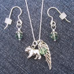 Bulldog Large Angel Wing Sterling Silver Necklace & Earring Set