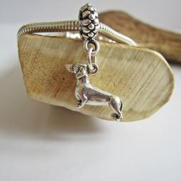 Dachshund Large Ster Silver European-Style Charm and Bracelet