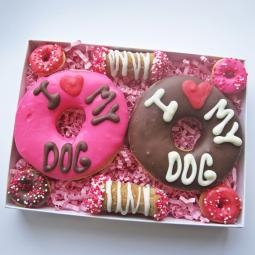 Large I Love My Dog Donut and Cannoli Valentine Treat Assortment