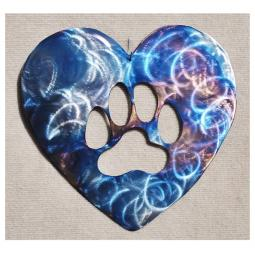 Paw Print Heart Metal Wall Hanging - Large