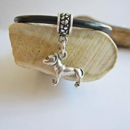Pit Bull Large Ster Silver European-Style Charm and Bracelet