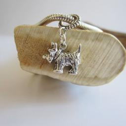 Scottish Terrier Large Str Slvr European-Style Charm and Bracele