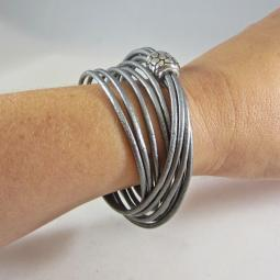 Gray Italian Leather 5-Strand Wrap Bracelet with Magnetic Clasp