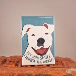 Pit Bull Change the World Dog Art Magnet