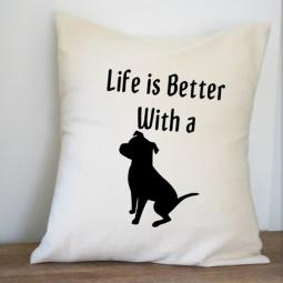 Life is Better with a Pit Bull Canvas Pillow Cover