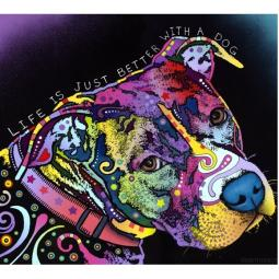 Life is Just Better Pit Bull Print by Dean Russo - ONLY 1 LEFT