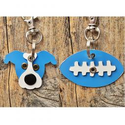 Light Blue and White Pit Bull or Football Metal Rivet Keychains