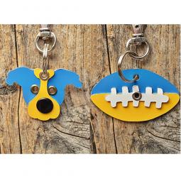 Light Blue and Yellow Pit Bull or Football Metal Rivet Keychains