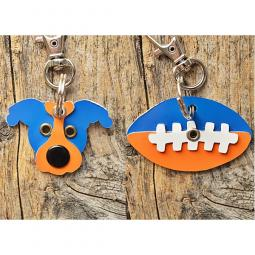 Light Blue and Orange Pit Bull or Football Metal Rivet Keychains