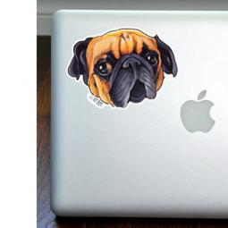 Little Adorable Pug Full Color Large Decal