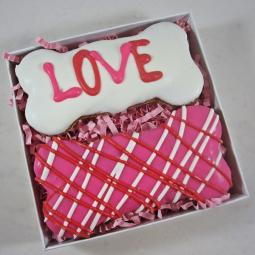 Love Swirl Times Two Valentine Dog Treat Gift Box