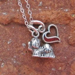Maltese In My Heart Mini Sterling Silver Necklace