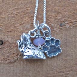 Maltese Paw Print Sterling Silver Necklace (large)