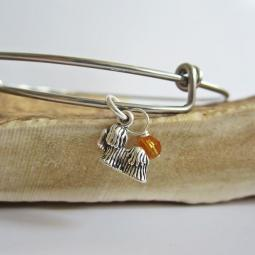 "Maltese Mini Dangle Stackable Bangle Bracelet (2.5""-3"")"