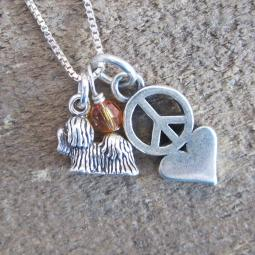 Maltese Mini Peace Love Sterling Silver Necklace