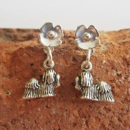 Maltese Poppy Sterling Silver Earrings