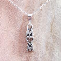 Mom Sterling Silver Pendant Charm and Necklace