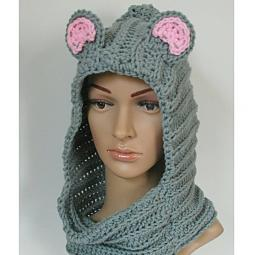 Grey Mouse Crochet Woman's Snood