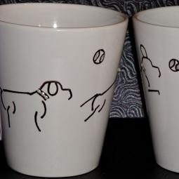 Set of Two Handpainted Fetch 12oz. Mugs