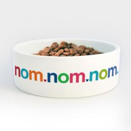 Nom Nom Food Bowl - Heavy Ceramic Dog Bowl with Colorful Letters