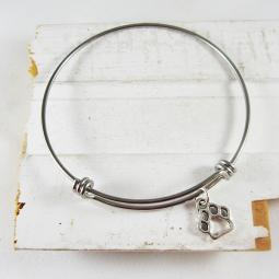 "Open Paw Print Stackable Bangle Bracelet (2.5""-3"")"