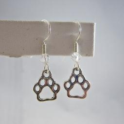 Open Paw Print Dangle Earrings