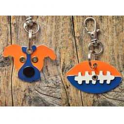 Orange and Blue Pit Bull or Football Metal Rivet Keychains