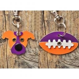 Orange and Purple Pit Bull or Football Metal Rivet Keychains