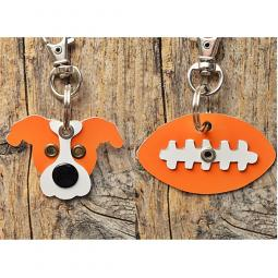 Orange and White Pit Bull or Football Metal Rivet Keychains