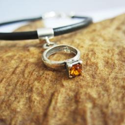 Orange Birthstone Ring European-Style Charm and Bracelet