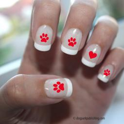 Paw Print Love Nail Art